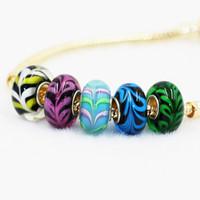 achat en gros de 925 charme corail-Bead Charm Coral Colorful Glaze Murano 925 Argent Plaqué Femmes Mode Bijoux de style européen pour le bricolage Bracelet PADM020
