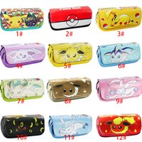 Wholesale Pencil Case Poke Pikachu Eevee Mewtwo Pocket Monster Canvas High Capacity Pen Pocket Poke Ball Stationery Bag For Girl Styles XL P103