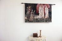 Wholesale The Vision of the Holy Grail Medieval Knights Fine Art Tapestry Wall Hanging Home Decor Gift Cotton Jacquard Woven x cm