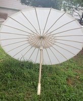 wedding umbrella - New Eco friendly Bamboo With Paper White Color Long handle Bridal Wedding Umbrellas