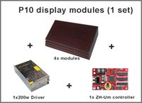 Wholesale 4pcs driver controller ZH Um P10 Display panel led module single red semioutdoor led dot maxtril P10 led running text led sign