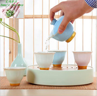 bamboo teapot - Hot Sale with High quality year ceramic tea sets portable travel round home kungfu tea cup teapot bamboo tea tray