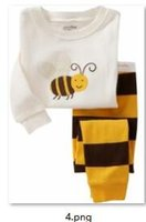 bee suits for kids - Cotton Long Sleeve Girls Boys Kids Clothing Sets Suits Pajama Piece Sleepwear Fashion Bee Sleepwear for T sets