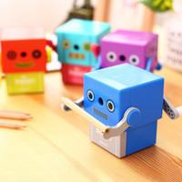 auto crank - pc plastic pencil sharpeners robot design auto matic hand crank pencil cutting machine colors Deli