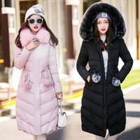 Wholesale Fashion Women Down Coat Fur Hood Girls Winter Jacket Thick Warm Down Parkas Outdoor Outwear Young Ladies Winter Clothing Pink xl