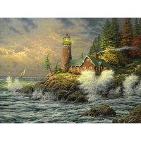 antique houses for sale - 2016 Sale Kits home decor for Embroidery Diy Diamond Painting Seaside romantic house Inlay Fabric gift X30CM HWI