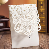 rhinestone buckles - 2016 Laser Cut White Hollow Rhinestone Wedding Invitations Wedding Supply Free Printing Birthday Invitation Lace Cards CW5001