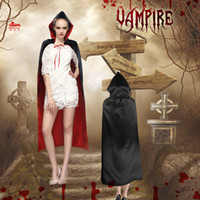 Wholesale New cm double layer adult long vampire scared two color cloak red black Halloween costume for men women