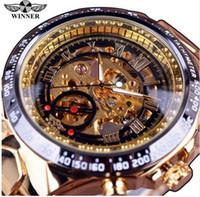 Wholesale Winner New Number Sport Design Bezel Golden Watch Mens Watches Top Brand Luxury Montre Homme Clock Men Automatic Skeleton Watch