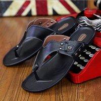 best flip flop sandals - Best selling summer new casual sandals men genuine leather men flip flops sandals and slippers fashion trend non slip flip slippers