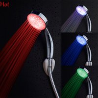 Wholesale 2016 Brand Shower Heads New Quality Automatic Colors LED Shower Head waterfall abs Plastic Round Single Shower Head Bath Sprinkler