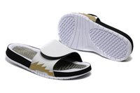 Wholesale Hydro Retro Slippers Black White Gold Mens Slipper new fashion summer shoes sandals new arrival Cheap s shoes for Men US7