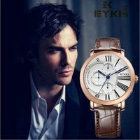 eyki - 2016 Quartz watch EYKI Fashion Men Quartz Watches Week Date Clock Leather Strap Male Wristwatch Business men Luxury