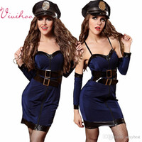 adult hat sizes - Adult Halloween Police Uniform Women Navy Braces Skirt Hat Sleeve Leather Belt Stewardess Costumes Police Cosplay Sexy Silk Bodycon Dresses