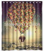 balloon shower curtain - Elephant Rised By Balloon Custom Fashion Waterproof Fabric Bathroom Best Design x180cm Shower Curtain