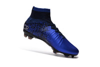 Wholesale Mens Outdoor Superfly FG CR7 Blue ACC Soccer Boots Cleats original Sapatos Men shoes Soccer Cleats Shoes Football Boots Zapatillas de futbol