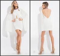 beautiful shirt designs - Short Mini Evening Dresses High Neckline Long Sleeve Beautiful Design Backless Hollow Celebrity Dresses Fashion White Or Black You Want