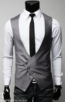 Wholesale 2016 Fashion Men Jacket Button Suit Slim Collarless Vest Waistcoat V neck Vests For Men Outwear Vest