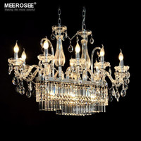 Wholesale Gorgeous Rectangle Crystal Chandelier Light Fixture Lights Glass Chandelier Lighting Lustre Hanging Dining room drop Lamp