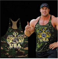 Spandex / Polyester camouflage tank top - 2016 New Gym clothing Singlets Camouflage Tank Tops Shirt Bodybuilding Equipment Fitness Men s Golds Gym Stringer WAIBO BEAR hight quality f