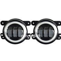 H4 left right Jeep 4 Inch Round Led Fog Headlights 30W Projector lens White Halo Fits Offroad Jeep Wrangler Jk Dodge Chrysler Front Bumper Boat Lights