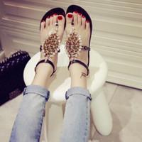 beaded shoe clips - Summer Women Fashion Flat Heel Sandals Clip Toe Beaded Rhinestone Sandals Gladiator Sandals Women Shoes