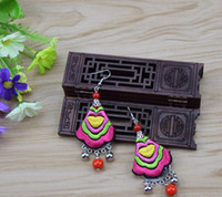 Wholesale Folk embroidery miao silver earrings hanging bead Bohemia ear hook embroidery restoring ancient ways Cloth art jewelry