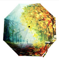 best fish oils - Autumn Leaves Anti UV Floding Oil Painting Clear Rain Bumbershoot Umbrella your best choice