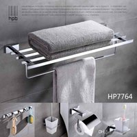 Wholesale Han Pai Brass Luxury Bathroom Accessories Wall Mounted Towel Rack Ring Holder Toilet Paper Holder Acessorios de banheiro Set HP7764