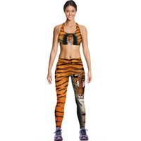 animal gym shirt - Tiger Camisoles Fashion Yellow Leopard Tanks Shirts Running Singlet Vest Print Tiger Camisole Gym Sports Tank Tops Digital Print Sleeveless