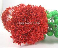 al por mayor estambres rojos-288pcs 1 mm de perlas de color rojo de la flor estambre decoración floral la torta del estambre para el bricolaje doble dirige estambres de cristal 11010107 (288)