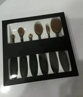 Wholesale 6 Set HOT ABH Ana Toothbrush Oval Makeup Brush Cosmetic Foundation BB Cream Powder Blush pieces set Makeup Tools DHL free