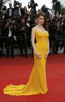 anna kendrick - 2016 Cannes Anna Kendrick Canary Yellow Celebrity Red Carpet Dresses Evening Dresses V Neck Sweep Train