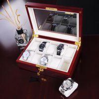 Wholesale 10 Ebony Cherry Wood Watch Display Case Glass Top Jewelry Storage Box Gifts