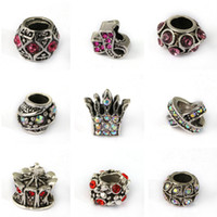 Wholesale Pandora Charm Beads Silver Plated Crystal Charm Jewelry Big Hole for DIY Bracelet Necklace European Styles