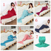 Wholesale 2016 Adult Crochet Mermaid Tail Blanket Colors Soft Warmer Blanket Fashion Bed Sleeping Costume Air condition Knit Blanket Size cm