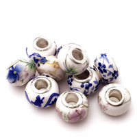 Wholesale Alloy Big Hole Loose Beads Chinese Blue and White Bracelet Beads Europe Round Charms Beads for DIY Jewelry Accessories