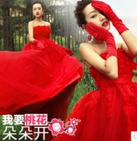 banquet dress code - New Arrival Hot Sale Fashion Sweety Royal Palace Luxury Gorgeous Sweety Red Banquet Bra Top Toast Code Bride Wedding Dress