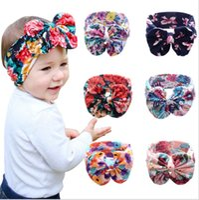 Wholesale China Headdresses - 2016 new 6 color printing big bow baby hairband infant cotton cloth floral headband Neonatal headflower headdress china free E215
