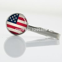 american flag clip - American flag art picture USA flag Tie Bar men Accessories Tie Clips Vintage national symbolic white red and blue T