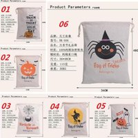 halloween decorations pumpkin - DHL Free style Halloween Large Canvas bags cotton Drawstring Bag With Pumpkin devil spider Hallowmas Gifts Sack Bags