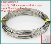 Wholesale 2pcs m stainless steel wire rope x7 mm and aluminum ferrules clip wire rope kit set for cloth ranger accessories