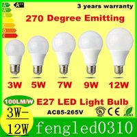 Wholesale Dimmable Cree SMD2835 B22 E27 LED Light Bulbs A60 A19 w w w w w LED Globe Bubble Lights Lamps AC85 V