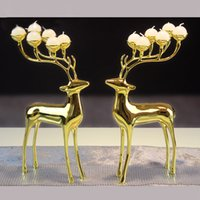 Wholesale Creative Metal Deer Candle Holder European Style Home Decoration Candle Romatic Dinning Candlestick Holder