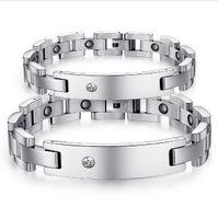 best magnetic bracelet for men - Lovers Magnetic Bracelets Casual L Stainless Steel Cubic Zirconia Bracelet For Women Men Best Jewelry Gift GS3359