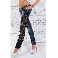 Wholesale Europe New Autumn Big Yards Jeans Lace Openwork Butterfly Modern Street Fashion Slim Pants Feet Trousers B