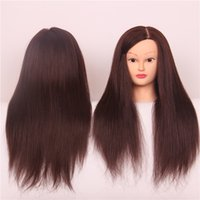 Wholesale 2016 New Fashion High Tempearture Synthetic Fiber Straight Include Percent Humer Hair Training Head Cosmetology Mannequin