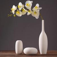 Top qualité pure main Porcelaine Trois Forme Taille Fleur Vases Interior Design Pot Luxe Style moderne de céramique décorative Art Vase Blanc