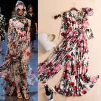 art deco print train - Printed Party Dresses Jewel Neck Long Sleeve Prom Dress Sweep Train Vintage Spring Beach Formal Evening Gowns With Wrap Cheap