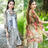 cape coat plus size - Women s Cape new Summer sun coat Floral point improved Chinese style costume plus size Loose long sleeve Women s Clothing